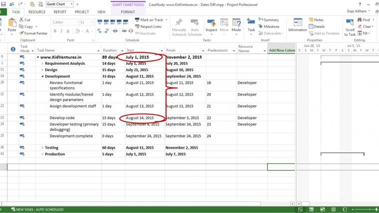 how to change project start date ms project 2016