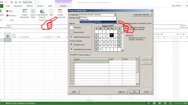 how to create a new custom calendar in microsoft project