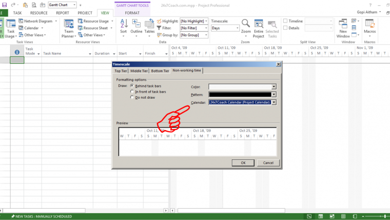 how to change working days in ms project