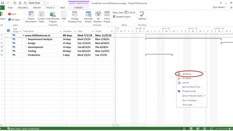 how to change gantt chart time scale in excel