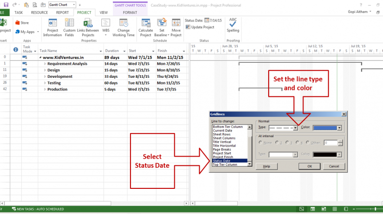 how to show status date line in time scale section of gantt chart