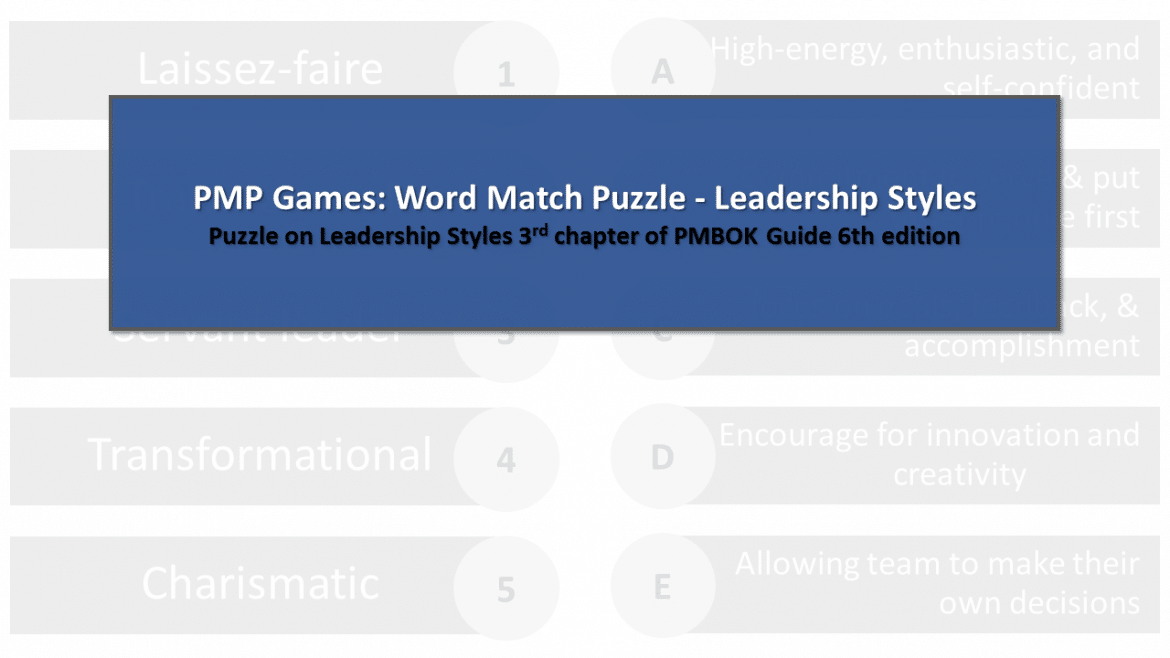 PMP Games: Word Match Puzzle – Leadership Styles – Answer
